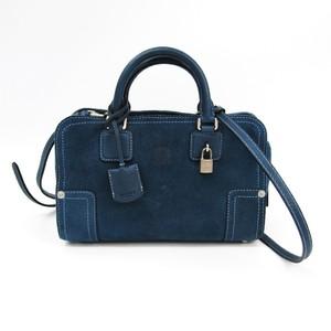 Loewe Amazona 23 366.80.H71 Women's Suede Handbag Navy