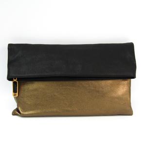 Fendi 8BP062 Women's Leather Clutch Bag Black,Bronze