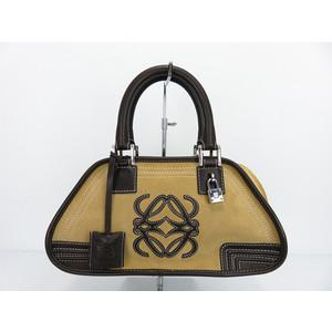 Loewe 050607 Women's Handbag Brown Amasona Mini Boston Bag Boston Bag Suede Leather