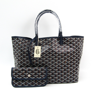 Goyard Saint Louis Saint Louis PM Women's Leather,Canvas Tote Bag Navy