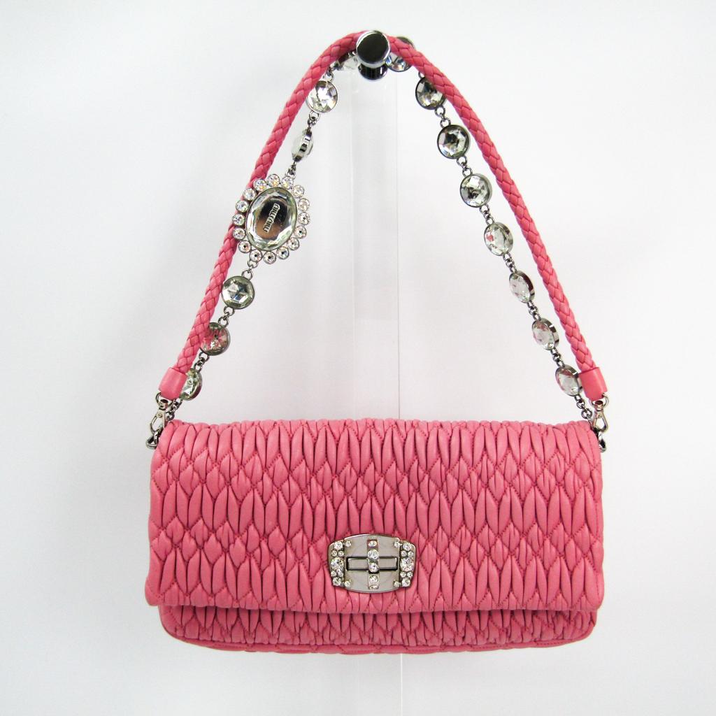ba5fbd3d3c94 Miu Miu Matelasse Nappa Cristal 5BD233 Women s Leather Clutch Bag ...