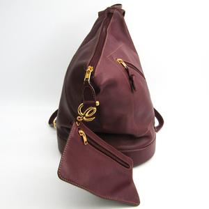 Loewe Anton Leather Backpack Bordeaux