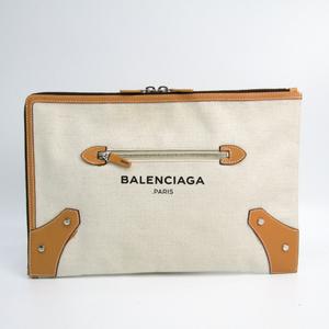 バレンシアガ(Balenciaga) 419994 レディース キャンバス,レザー クラッチバッグ アイボリー,ベージュ