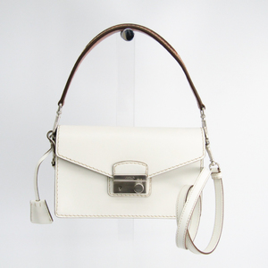 Prada BN2893 Women's Leather Shoulder Bag Brown,White