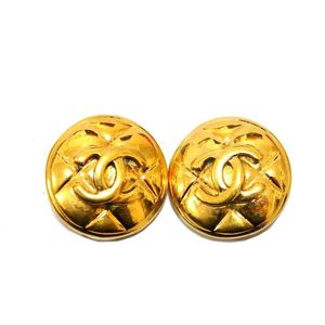 Chanel Matelasse Clip Earrings Gold