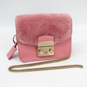 Furla Metropolis Women's Fur,Leather Shoulder Bag Light Pink