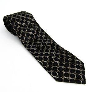 グッチ(Gucci) メンズ ネクタイ シルク ブラック,アイボリー 456524