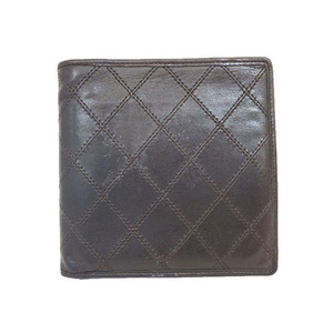 Auth Chanel Bicolor Leather Bill Wallet (bi-fold) Brown