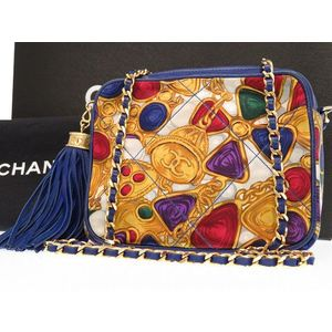 Chanel Matelasse Women's Leather Canvas Shoulder Bag Yellow,Blue,White