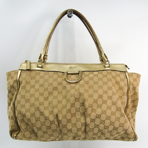 4982ecaf23b5 Gucci GG Canvas 190248 Women's Canvas,Leather Tote Bag Beige,Gold