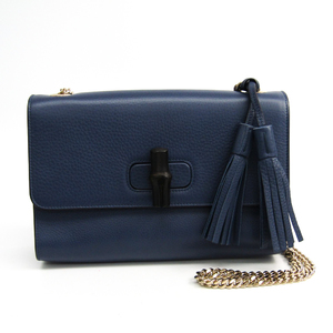 Gucci Bamboo 387611 Women's Leather Shoulder Bag Navy