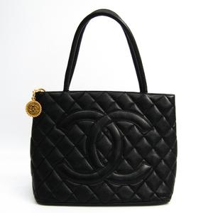 シャネル(Chanel) キャビア・スキン A01804 1804復刻トート レザー ハンドバッグ ブラック
