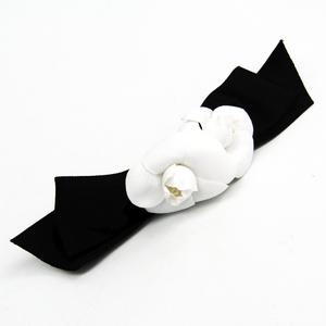 シャネル(Chanel) テキスタイル レディース バレッタ ブラック,ホワイト カメリア リボン