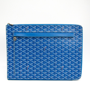 Goyard Sorbonne Unisex Canvas,Leather Clutch Bag Blue