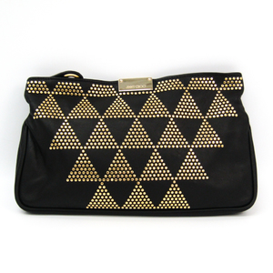 Jimmy Choo Women's Leather Studded Clutch Bag Black