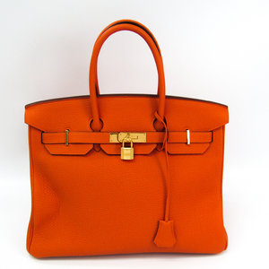Hermes Birkin 35 Togo Leather Handbag Orange
