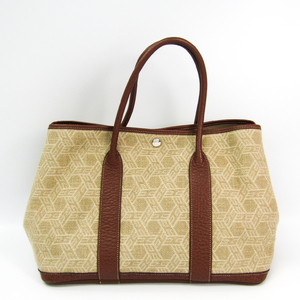 Hermes Garden Party Toile So H Tote Bag Beige