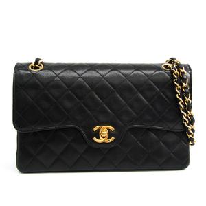 シャネル(Chanel) マトラッセ ダブルフラップ ダブルチェーンバッグ レザー ショルダーバッグ ブラック