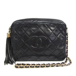 シャネル(Chanel) レザー ショルダーバッグ ブラック