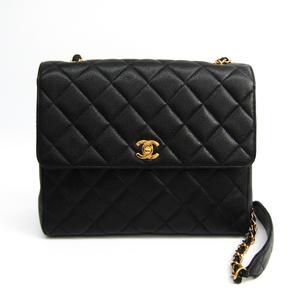 シャネル(Chanel) キャビア・スキン レザー ショルダーバッグ ブラック
