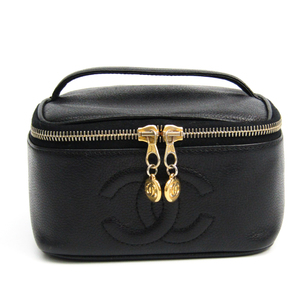 シャネル(Chanel) キャビア・スキン レザー バニティバッグ ブラック