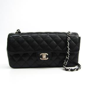 シャネル(Chanel) マトラッセ レディース キャビアスキン ショルダーバッグ ブラック