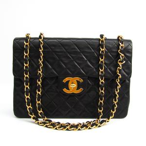 シャネル(Chanel) マトラッセ デカマトラッセ WフラップWチェーン レディース レザー ショルダーバッグ ブラック