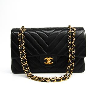 シャネル(Chanel) Vステッチ Wフラップ  チェーンショルダー レディース レザー ショルダーバッグ ブラック