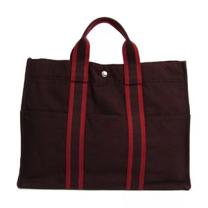Hermes Fourre Tout MM Cotton Canvas Tote Bag Bordeaux,Red
