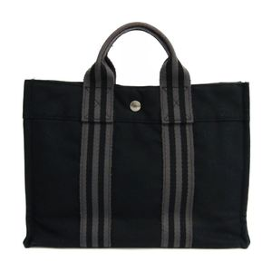 Hermes Fourre Tout PM Cotton Canvas Tote Bag Gray,Black