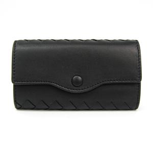 Bottega Veneta Intrecciato Unisex Leather Key Case Black 284137