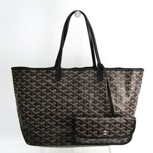 Goyard Saint Louis PM Leather,Canvas Tote Bag Black