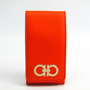 Salvatore Ferragamo Leather Phone Pouch/sleeve Orange 22-B849