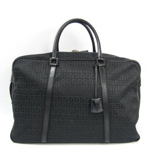 Fendi Zucca 7VS001 Unisex Leather,Canvas Boston Bag Black