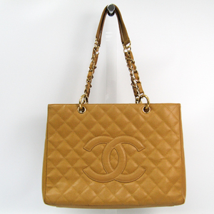 Chanel Caviar Skin Grand Shopping Tote A50995 Women's Leather Shoulder Bag Camel