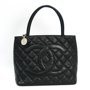 Chanel Caviar Skin A01804 Medallion Tote Leather Handbag Black