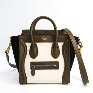 Celine Luggage Nano Shopper 168243 Women's Leather,Suede Handbag Khaki Brown,Navy,White
