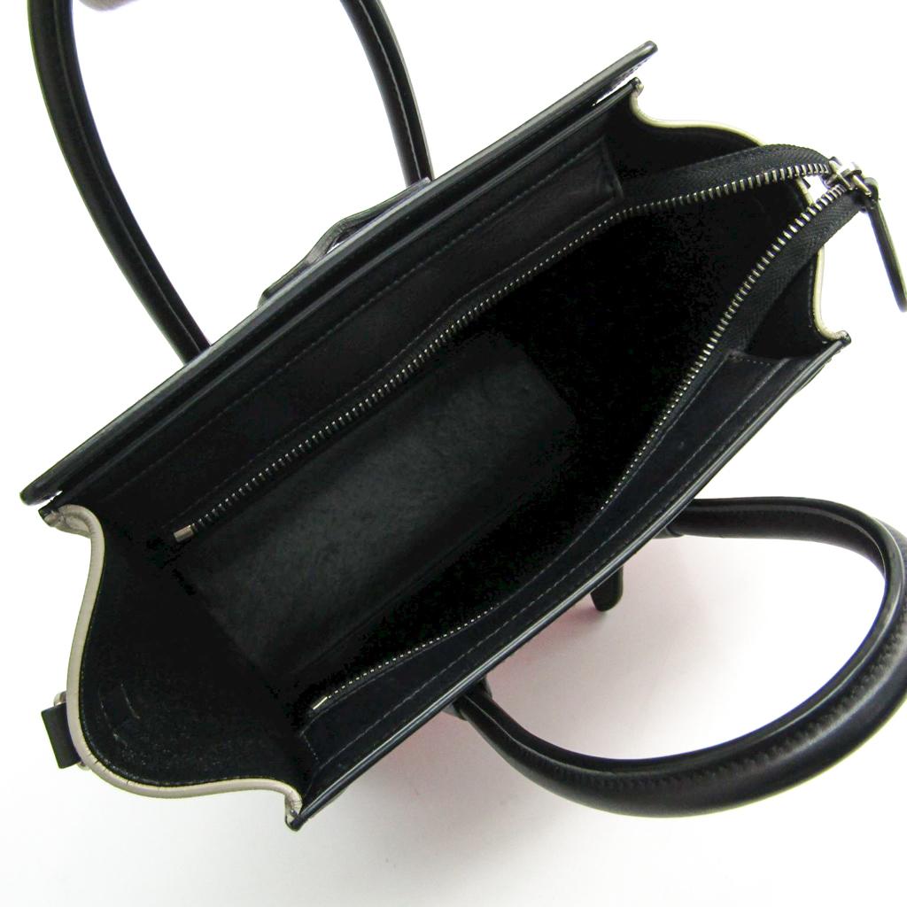 93a7ed44d956 Celine Luggage Nano Shopper 168243 Women s Leather Handbag Black ...