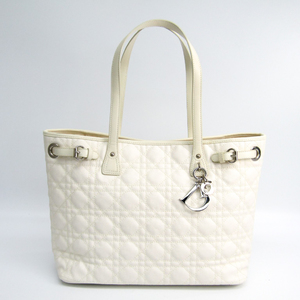 Christian Dior Panarea  Tote Women's Canvas,Leather Tote Bag White