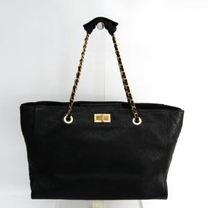 シャネル(Chanel) 2.55 レディース キャビアスキン トートバッグ ブラック