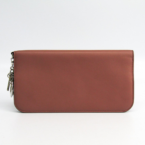 Christian Dior Diorissimo Women's Leather Long Wallet (bi-fold) Pink Beige