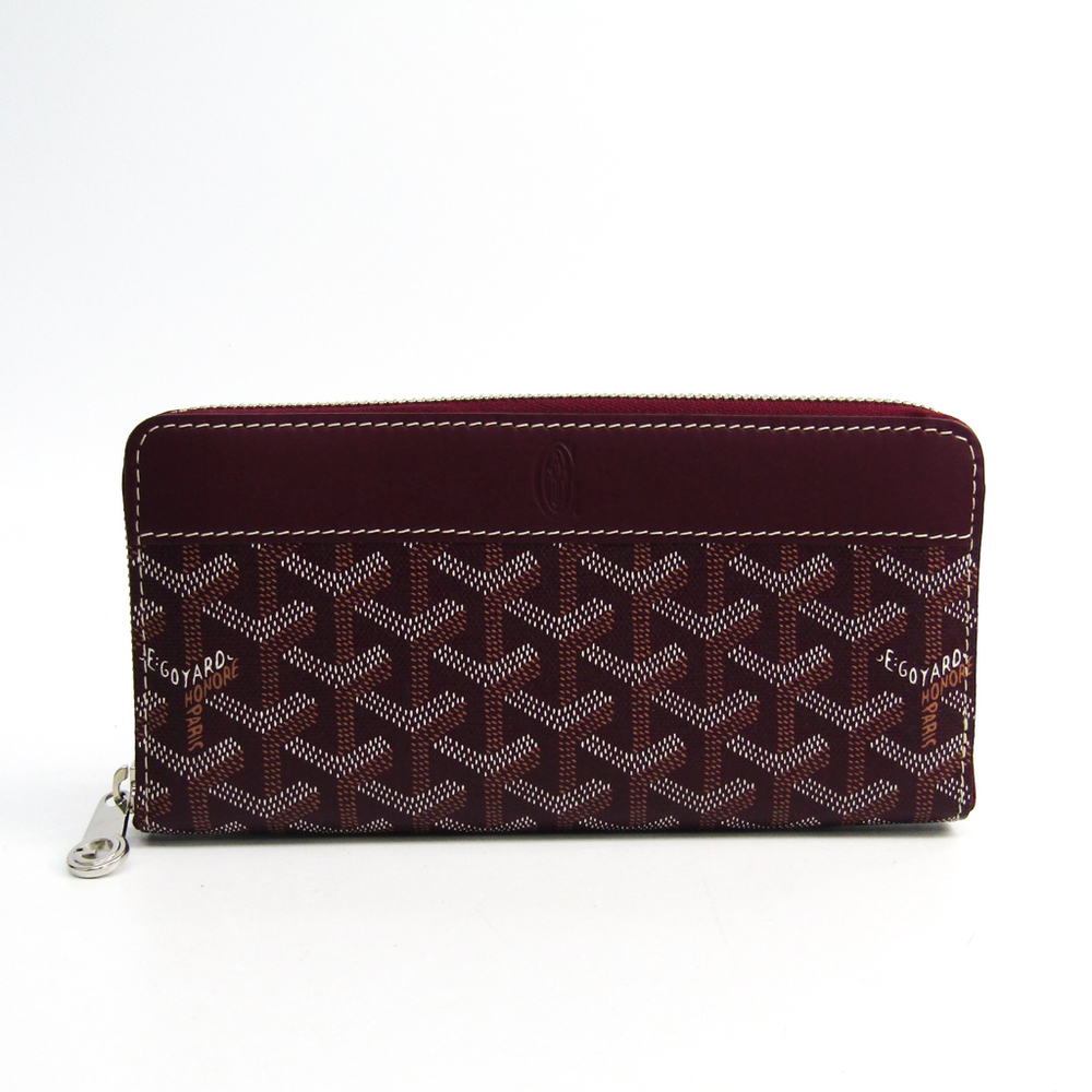 Goyard Matignon Leather,Canvas Long Wallet (bi-fold) Bordeaux