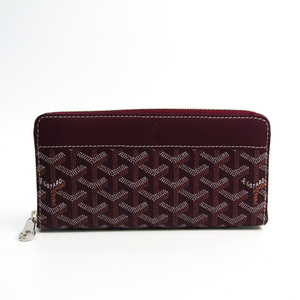 Goyard Matignon Leather,Canvas Long Wallet (bi-fold) Bordeaux