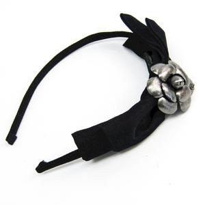 シャネル(Chanel) シルク レディース カチューシャ ブラック,ガンメタル カメリア リボン