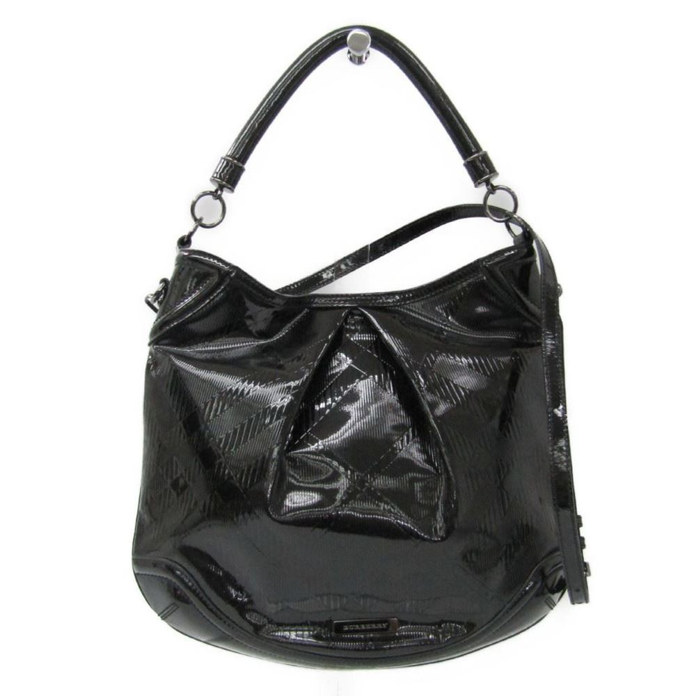 Burberry Enamel Women's Shoulder Bag Black