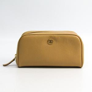 Chanel A20913 Women's Leather Pouch Beige