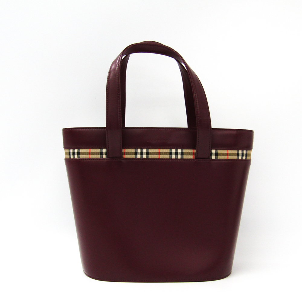 Burberry Women's Leather Tote Bag Bordeaux
