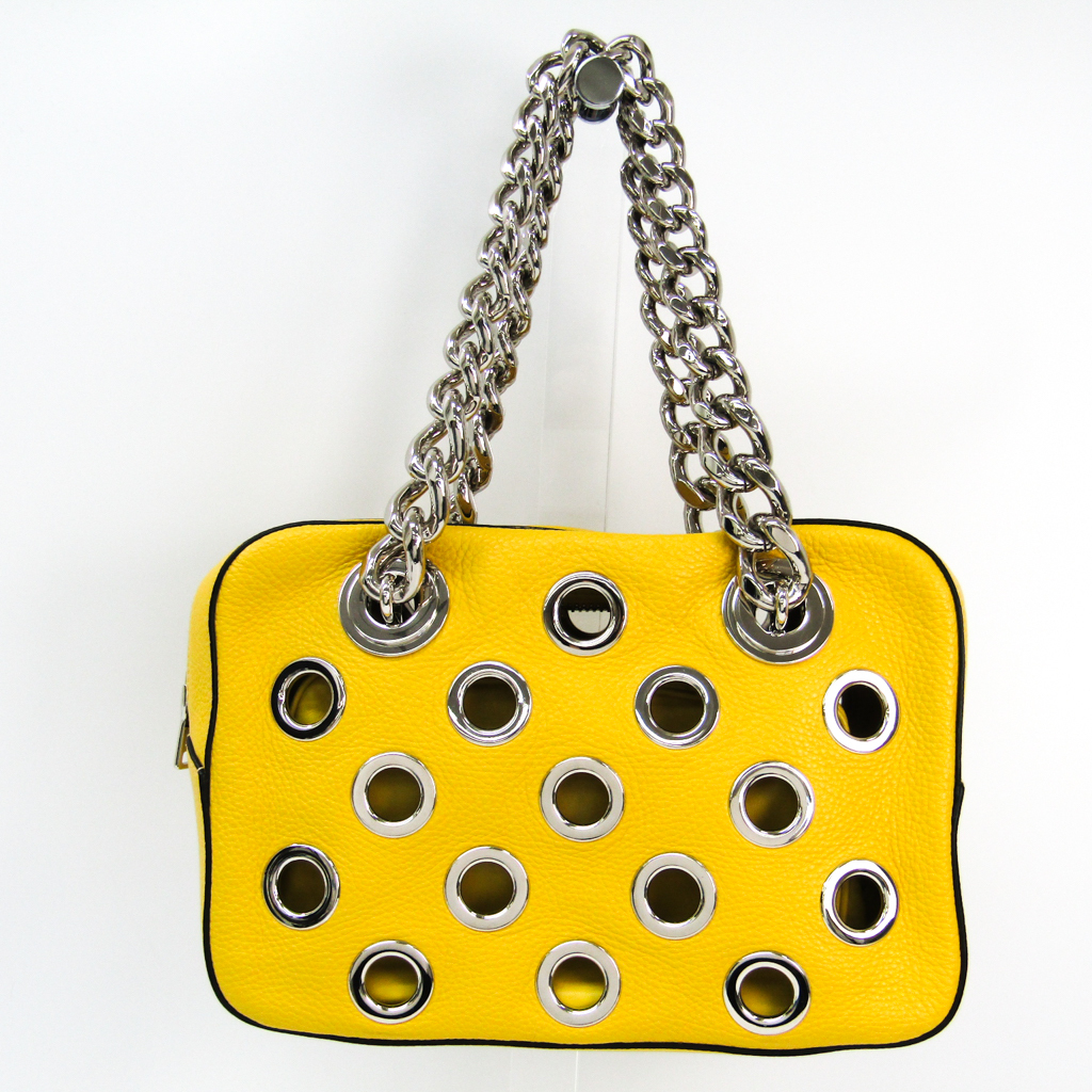 7f1d3225f755a9 ... canada prada grommet chain shoulder womens leather shoulder bag yellow  bf325092 16a0a 8d4c1