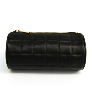 Chanel Chocolate Bar Women's Leather Pouch Black