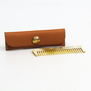 Hermes Buffalo Horn Leather Accessory Beige Etui Penns New Eve Pay Necked Comb